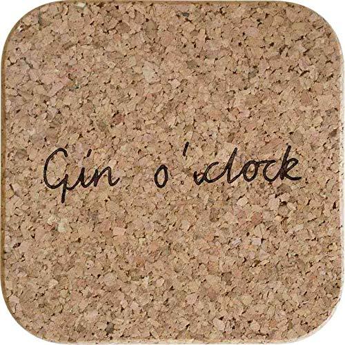 Azeeda 4 x \'Gin O\'Clock\' Quadratische Korkuntersetzer (CR00156018)