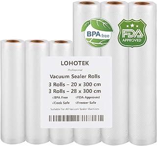 comprar comparacion Rollos para Envasadora Sellador de Vacío 3 packs 20cmx300cm y 3 packs 28cmx300cm Bolsas Profesional para la Conservación d...