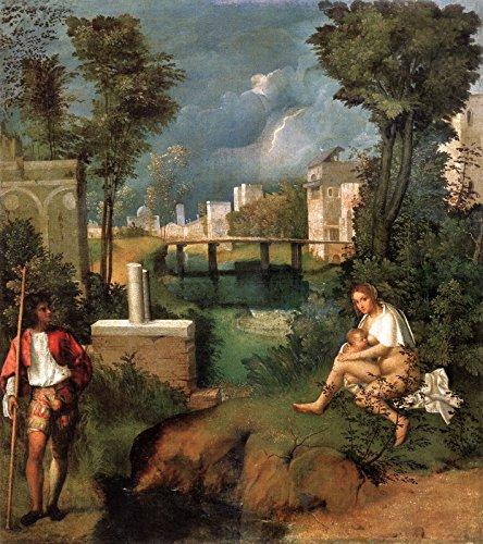 """Giorgione The Tempest Galleria dell Accademia - Venice 30"""" x 27"""" Fine Art Giclee Canvas Print Reproduction (Unframed)"""