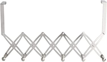 Zhuatek Foldable Door Hanger,6 Hooks Stainless Steel No Drilling Flexible Folding Sturdy Durable Silver Coats Hats Towels ...