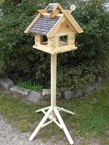 Vogelhaus mit Ständer-(V07+S1)XXXL Schwarz-Vogelhäuser Vogelfutterhaus Vogelhäuschen-aus Holz Schreinerarbeit-