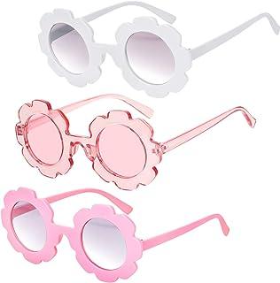 3 Pieces Round Flower Sunglasses Cute Outdoor Beach...