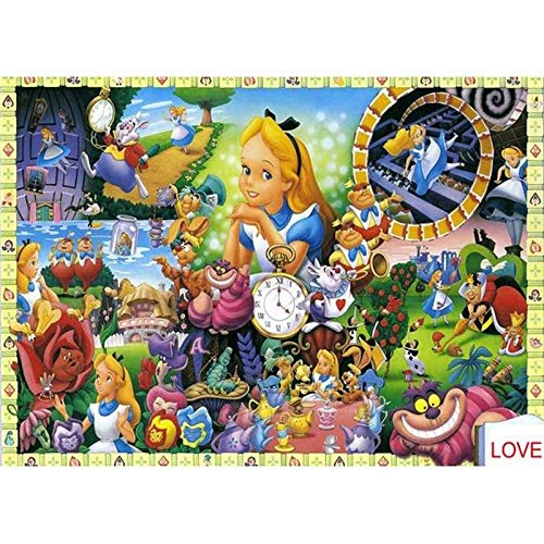DIY 5D Diamond Painting by Number Kits, Alice in Wonderland Puzzle Alice Round Full Drill Acrylic Embroidery Cross Stitch Arts Craft Canvas Supply for Home Wall Decor Adults and Kids 11.8x15.7 inches