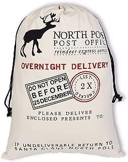 10PCS Christmas Gift Bag Santa Sack Canvas Bag 20''x 28'' Christmas Gift Sacks Canvas Xmas Santa Presents Bag with Deer Pattern for Stocking Presents(Off White Deer)