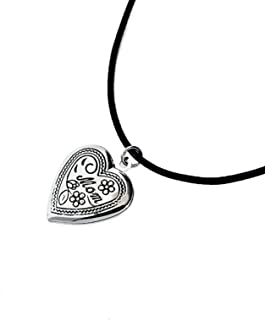 Adisaer Locket Necklace for Womens Locket Pendant Mom Leather Cord Necklace Silver/Gold Valentine Gift