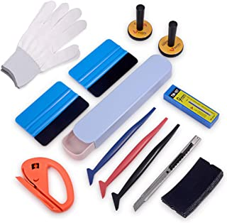 Auto Window Tint Film Tool Kits Include Vinyl Wrap Felt Squeegees with Spare Fabric Felts, Micro Squeegees, Vinyl Graphic Magnet Holders, Gloves, Cutter Knife, Utility Knife and Blades