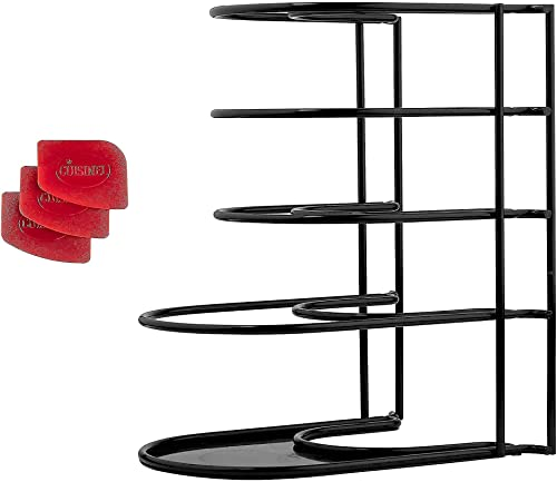discount Heavy Duty Pan Organizer, 5 Tier Rack + Pan Scraper Tool - Holds up sale to 50 2021 LB - Holds Cast Iron Skillets, Griddles and Shallow Pots - Durable Steel Construction - Kitchen Storage - No Assembly outlet online sale