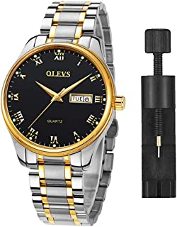 Classic Men Watches with Date,Stainless Steel Man Watch with Date, Bussiness Watches for Men,Luminous Quartz Mens Watches Black/White/Blue/Gold, Waterproof Male Watch with Week