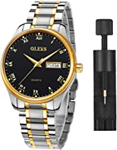 Classic Men Watches with Date,Stainless Steel Man Watch Waterproof, Bussiness Watches for Men,Luminous Quartz Mens Watches with Black/White/Blue/Gold Dial, Waterproof Male Watches with Week