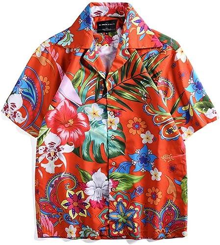 Ouqian-Shirts Chemise à Manches Courtes pour Hommes Chemise pour Homme à Manches Courtes Fleurs Imprimé Couple Rue Décontracté Plage Boutons Chemise Chemise Décontracté Plage Tropicale Vacances