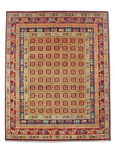 Pak Perzische tapijten Chobi Handgemaakte Pazyryk tapijt, Wol, Bordeaux rood, Medium, 245 X 302 cm, 8' x 9' 11