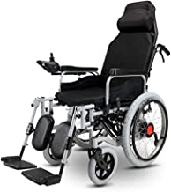 LJMGD Electric Wheelchair with headrest Cushion,Heavy Duty Foldable Powered Wheelchair,seat Width: 46cm,Joystick,Folding Power Or Manual Wheelchair for Disabled Elderly Adults(12A Battery)