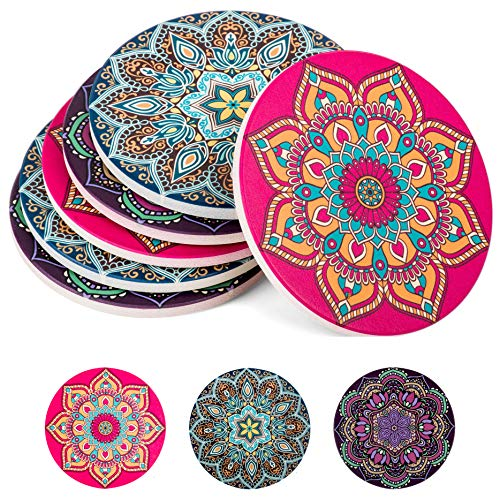 Absorbent Ceramic Stone Coasters for Drinks: Mandala Drink Coaster Set with Cork Back - Round Coasters and Holder Box for Home, Office, Bar - Coffee Table Beverage Cup Mat Sets - 4 Inch, Set of 6