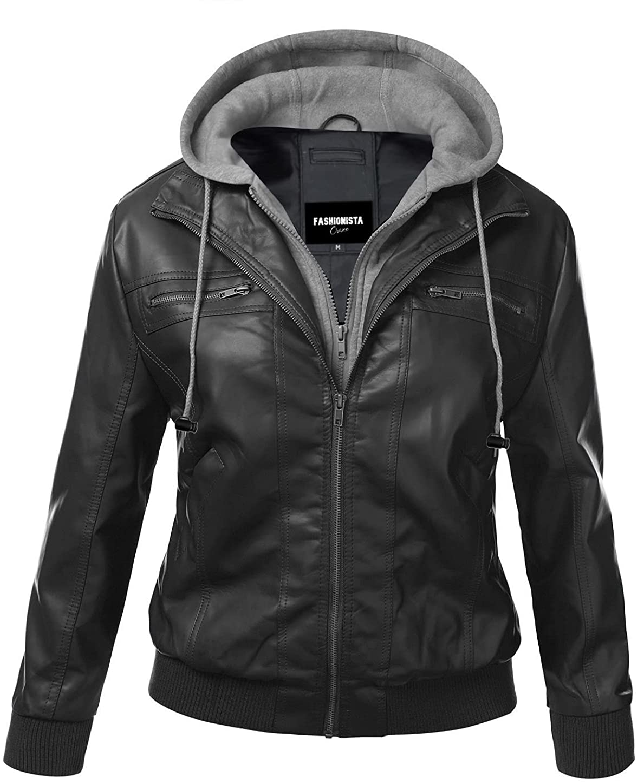 Fashionsta Craze Designer Women's Faux Leather Jacket - Hooded Faux Leather Jacket for Women
