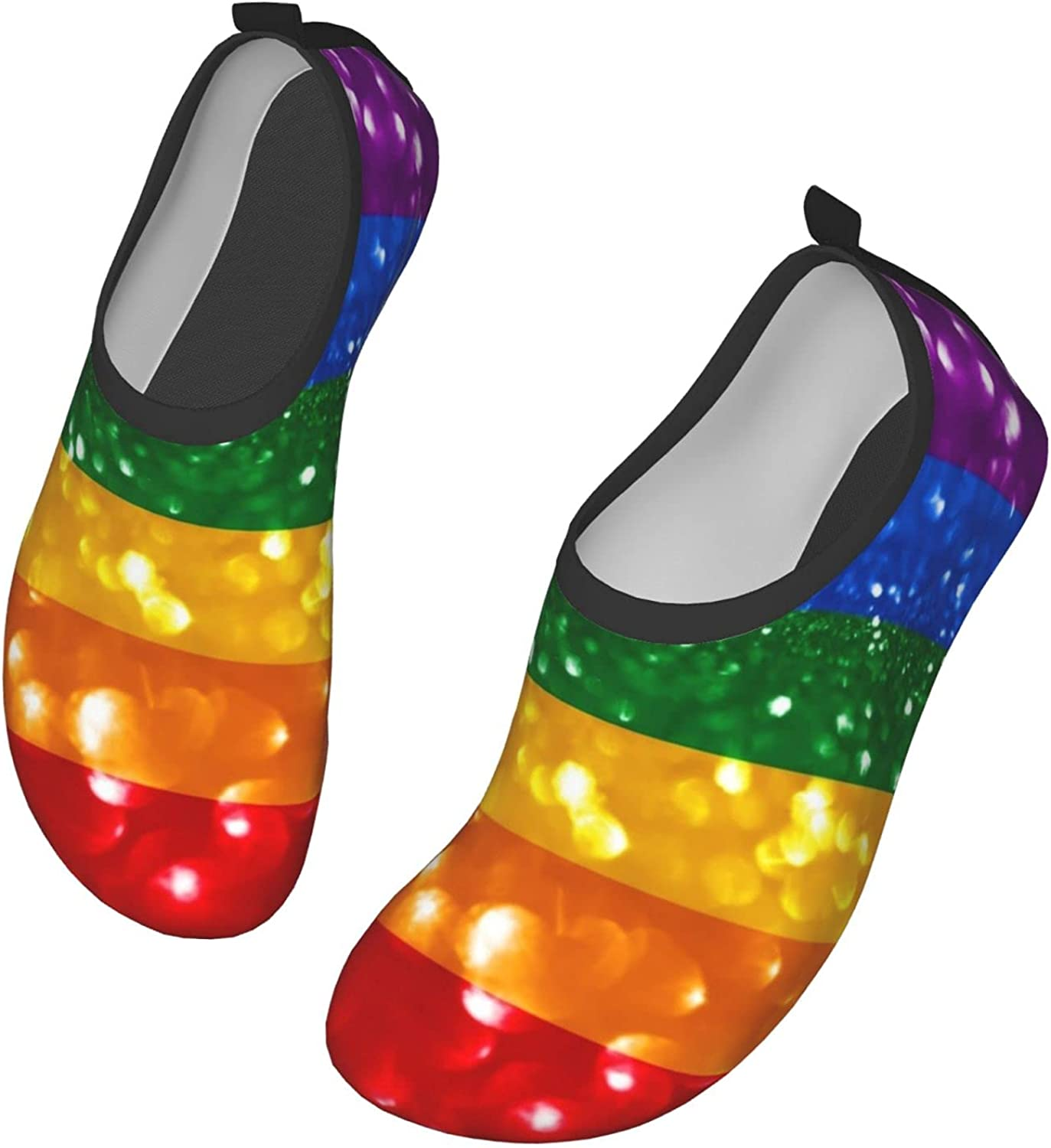 Rainbow Water Shoes for Womens Mens Outdoor Beach Swimming Aqua Socks LGBT Gay Pride Quick-Dry Barefoot Shoes Surfing Yoga Pool Exercise