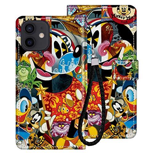 DISNEY COLLECTION Funda de piel sintética para iPhone 12, diseño de Mickey Mouse de Disney, con correa de mano, función atril, a prueba de golpes