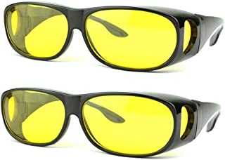 SOOLALA Value Pack HD Night Vision Wraparounds Wrap Around Windproof Sunglasses