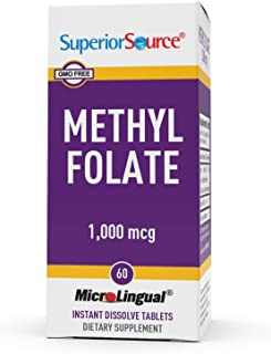 Superior Source Methylfolate 5-MTHF 1000 mcg, Quick Dissolve Sublingual Tablets, 60 Ct, Biologically Active Form of Folate...