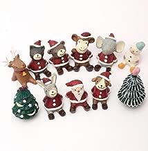 YOUDirect Decorative Ornaments - 11 PCS Resin Mini Animals Snowman Santa Claus Christmas Tree Micro Home Garden Landscape Plant Pot Craft Dollhouse Decor Toys