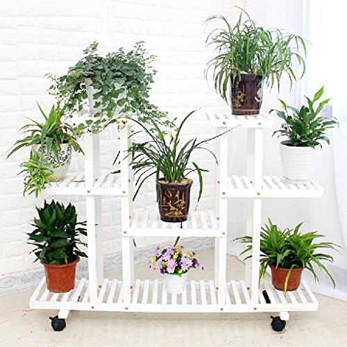 LITINGMEI Flower racks Cadre de Fleur en Bois Salon Balcon étagère en Pot Cadre Pliant Combinaison Plante Rack L * W * H: 120 * 25 * 80CM (Couleur : Blanc)
