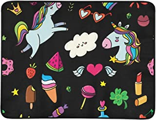 Unicorns Rainbows Stars Gems Lollipops Hearts Pattern Portable and Foldable Blanket Mat 60x78 Inch Handy Mat for Camping P...