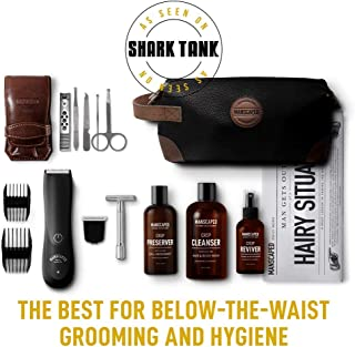 Mens Manscaping grooming kit designed specifically for below the belt grooming and hygiene, trimmer, nail kit, ball deodorant, groin wash, anti chaffing spray - the Perfect Package