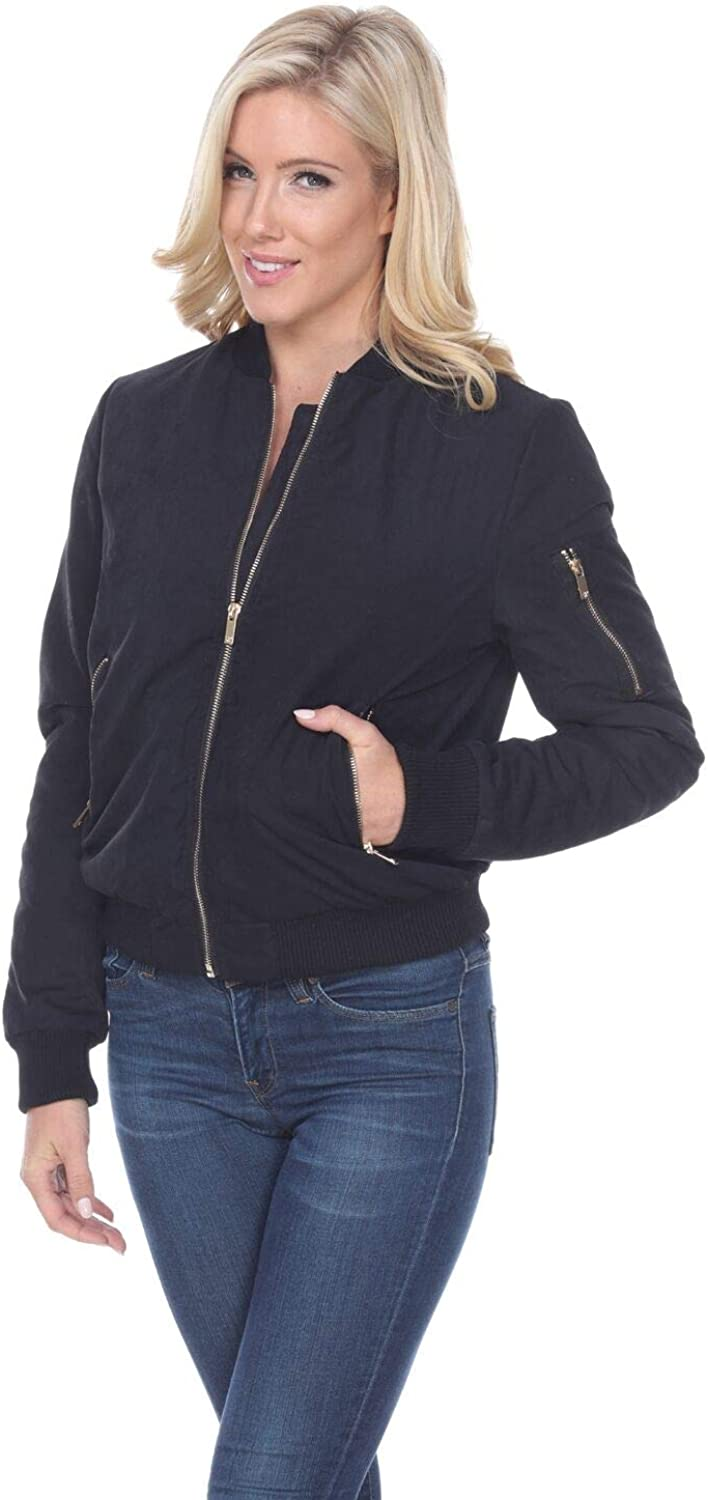 white mark Women's Classic Solid Bomber Jacket Short Quilted Zipper Coat