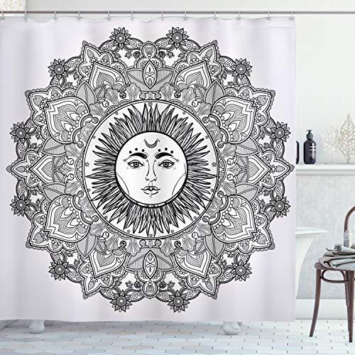 "Ambesonne Mandala Shower Curtain, Sun Illustration Yantra Mandala Floral Pattern Bohemian, Cloth Fabric Bathroom Decor Set with Hooks, 75"" Long, White and Black"
