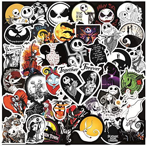 Kiddale 100 PCS Happy Halloween Stickers The Nightmare Before Christmas Jack Skellington Thriller Horror Style Toy Stickers for Scrapbook Car Laptop Luggage Skateboard