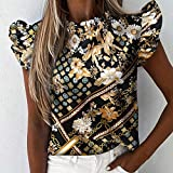 DYXYH Imprimir Blusa de Volantes Camisas Oficina Lady Verano Manga Corta Slim Blousas Mujeres Sexy Tops (Color : A, Size : L Code)