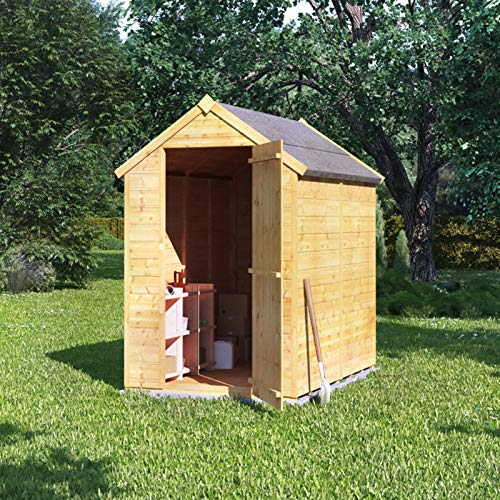 BillyOh Storer Tongue and Groove Garden Shed with Floor   Windowless Wooden Shed with Apex Roof   (6x4)