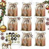 Huker 24 Calendario de Adviento, Calendario de Navidad, Cajas de Regalo Navidad con Adviento Pegatinas, Bolsa para Calendario de Adviento, Navidad Bolsas de Regalo, Cajas de Papel Kraft