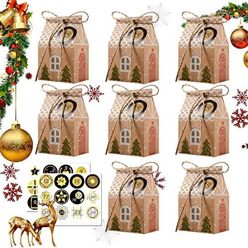 Huker 24 Adventskalender zum Befüllen, Adventskalender Tüten mit 24 Zahlenaufklebern, Weihnachts Geschenkschachtel, Weihnachtskalender Tüten, Weihnachten DIY Bastelset, 2020 Weihnachtliche Dekoration