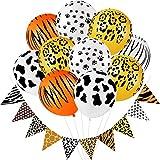 Set de 22 Decoraciones de Fiesta de Safari de Selva Incluye 2 Pancarta Estampada de Leopardo de Safari y 20 Globos de Látex de Animal Safari para Decoración de Fiesta Temática Animal de Cumpleaños
