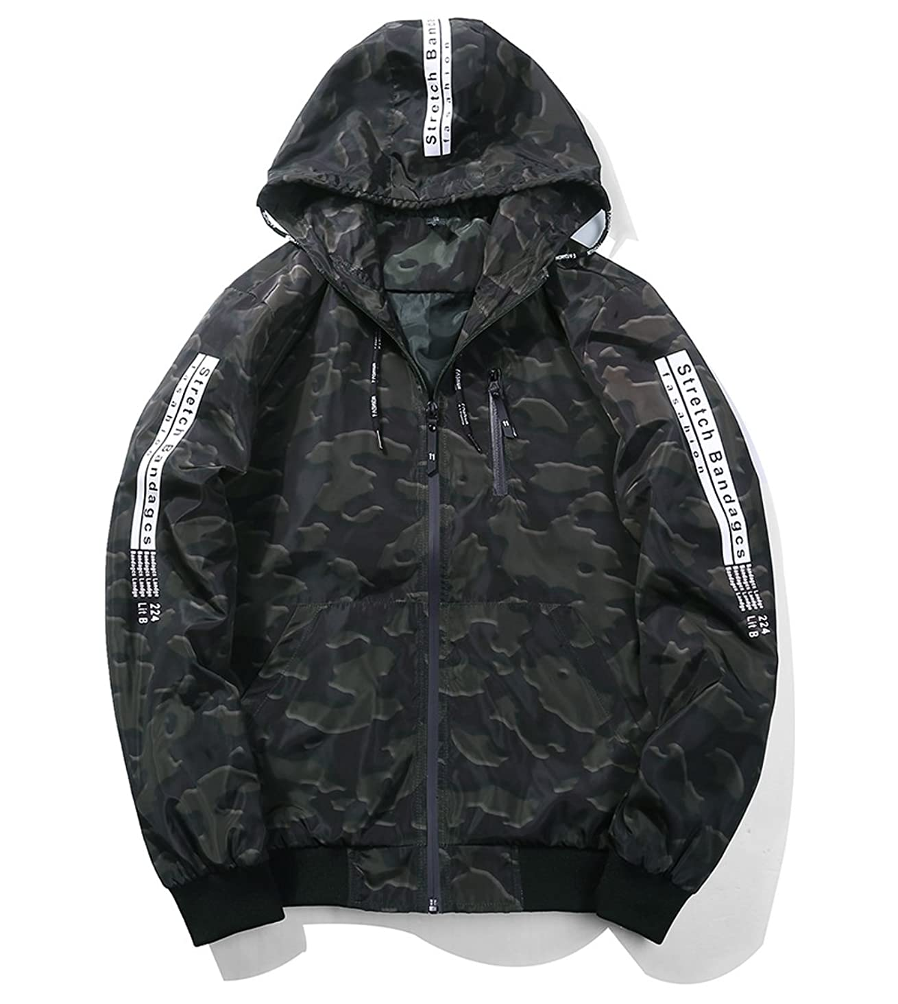 UNbox-HT Mens Zipper Pocket Bomber Jacket Casual Wear Denim Overcoat
