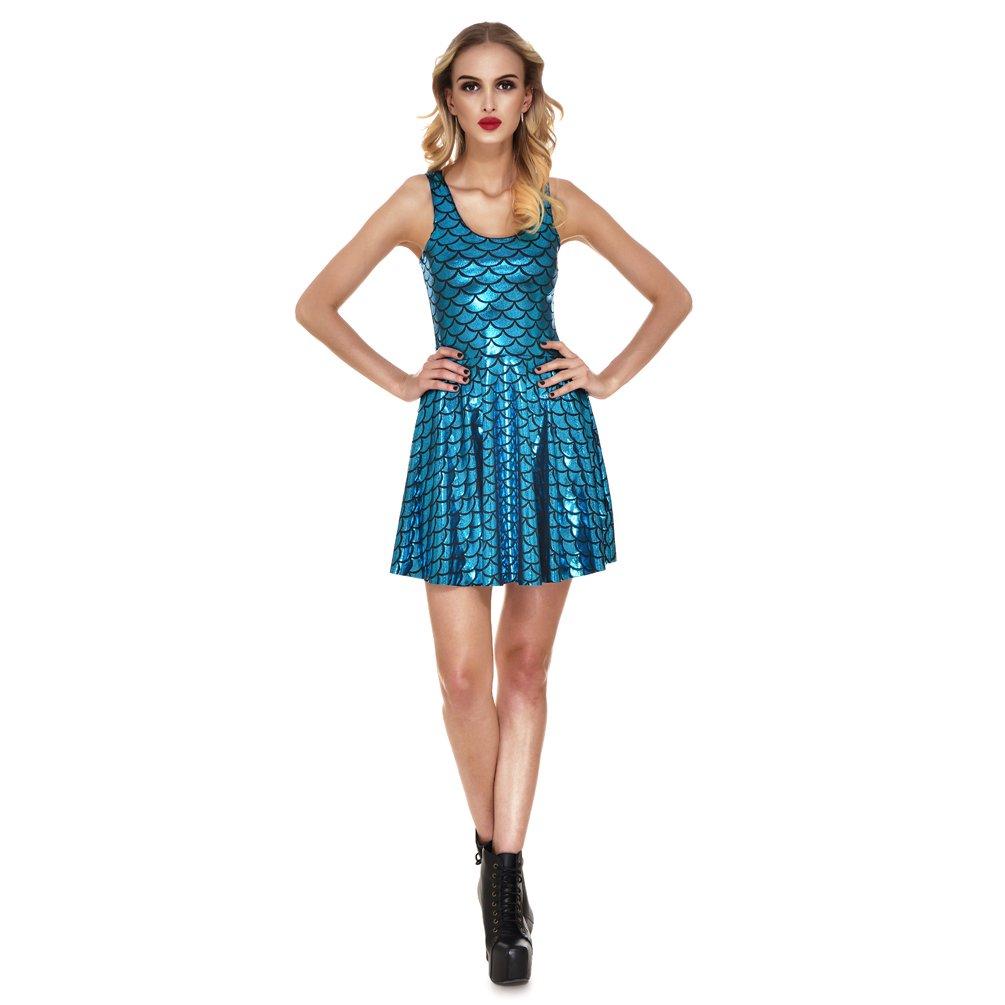 Available at Amazon: Lesubuy Shiny Mermaid Tail Fish Scales Women's Sleeveless Pleated Skater Dress