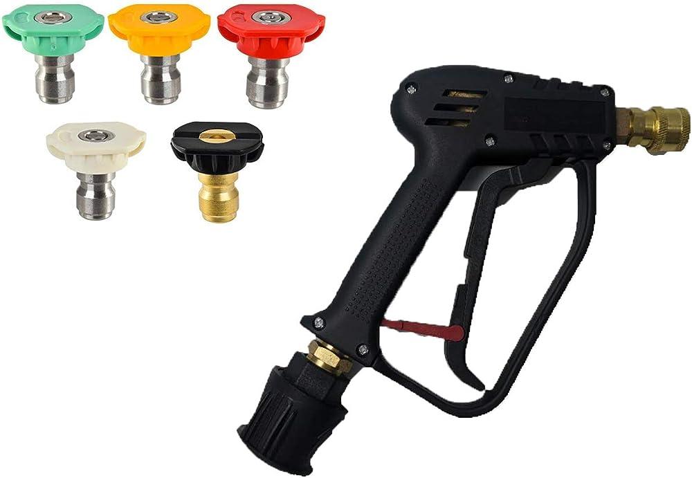 Arandela de Alta presión Pistola pulverizadora de Alta presión y Kit de gatillo de conexión rápida para reemplazar las lavadoras de presión eléctricas Karcher (Conector de manguera M22 14MM)