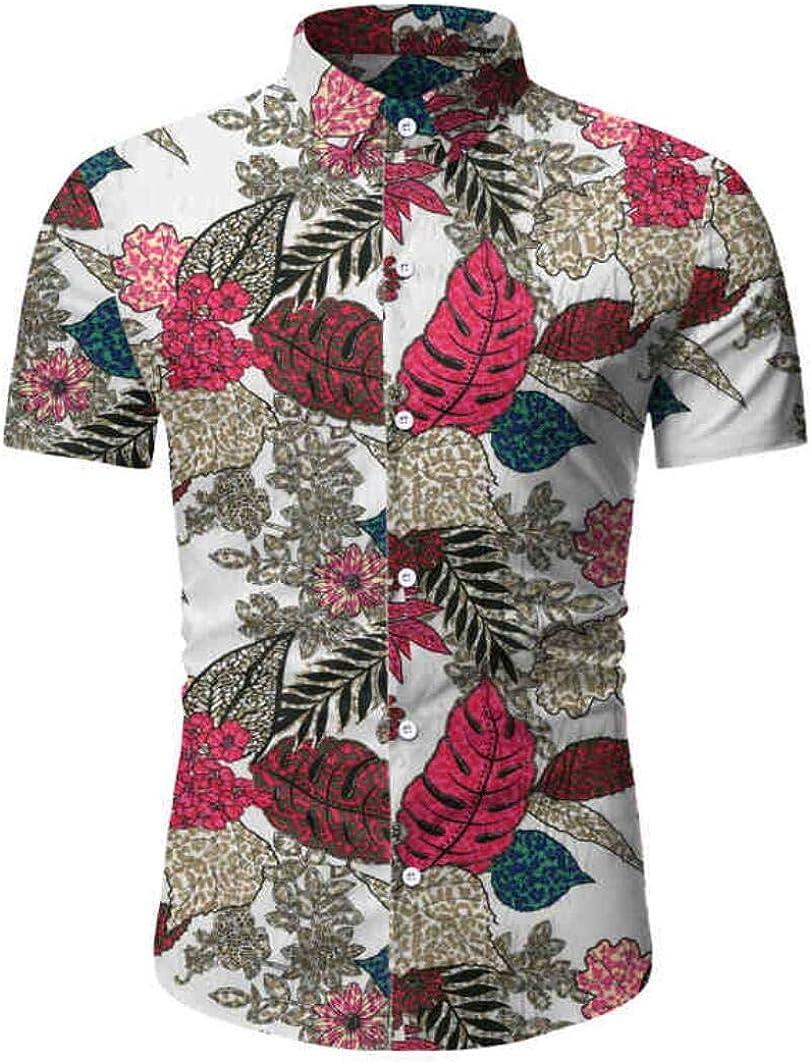 Men's Slim Fit Floral Shirt Short Sleeves Hawaiian Dress Shirt Button Down Casual Shirt Beach Party Shirt