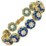 Rizilia Flor Tenis Pulsera [18cm/7inch] con Corte Redondo Piedras Preciosas Circonita CZ [Zafiro Azul] en 18K Chapado en Oro Amarillo, Elegancia Moderna Sencillo