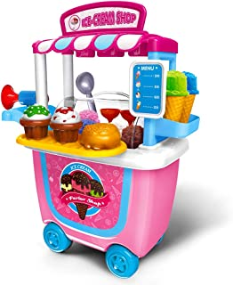 Gizmovine Ice Cream Toy Pretend Food Truck Toy Play Set Ice Cream Cart for Toddler Girls 4,3,2 year old (31 pcs)