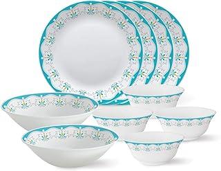 Larah by Borosil - Tiara Series, Royal Jade, 10 Pcs, Opalware Dinner Set, White