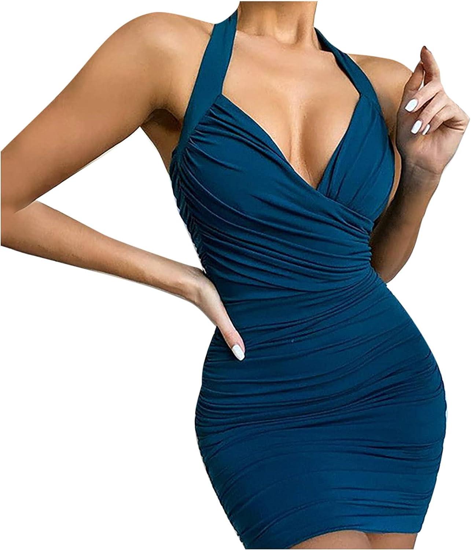 Sun Dresses Women Summer Women's Dress Slim Fit Sex Appeal Solid Color V-Neck Dress Womens Dresses
