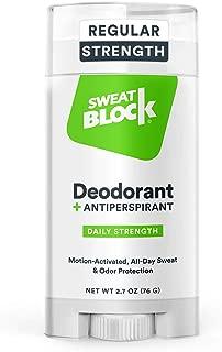 SweatBlock Deodorant Antiperspirant for Men and Women, Regular Strength, Solid