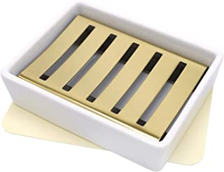 lofekea Ceramic Soap Dish Gold Stainless Steel Soap Holder for Shower and Bathroom Double Layer Draining Soap Box