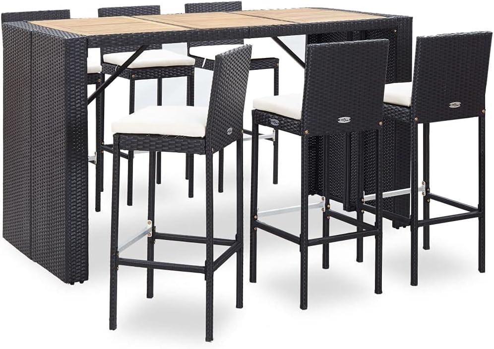 vidaXL Set Muebles Bar Jardín 7 Piezas y Cojines Patio Terraza Conjunto Casa Exterior Comedor Aire Libre Mesa Silla Asientos Ratán Sintético Negro