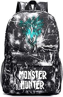 Monster Hunter World Estuche de Lápices Resistente al Agua Escuela de Escolar Impresión Mochila Mochila Ocio for niños y niñas Unisex (Color : Black04, Size : 30 X 14 X 45cm)