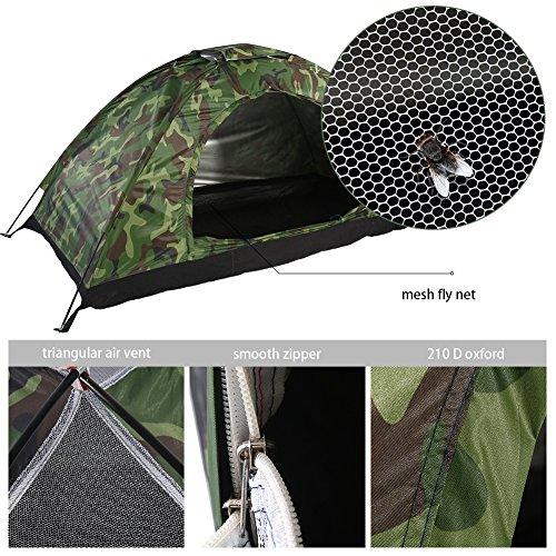 1 Man Camping Dome Tent, Outdoor Camouflage UV Bescherming Waterdichte Een Persoon Tent Shelters voor Camping Wandelen Reizen Tuin Vissen Picknick Met Draagtas