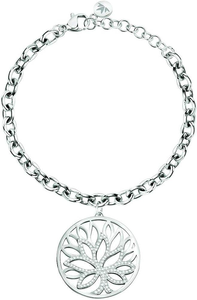 Morellato, bracciale da donna, collezione loto, con pendente , in acciaio e cristalli SATD13