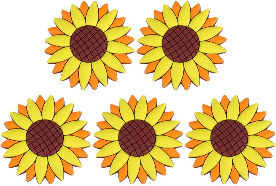 Cabilock OFFicial free 5PCS Sunflower Design Magnets PVC Stickers Refrigerator