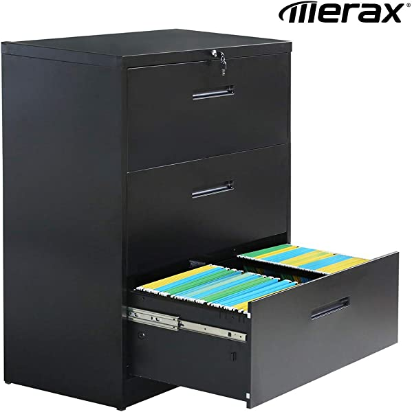 Merax Lateral File Cabinet 3 Drawer Locking Filing Cabinet Three Drawers Metal Organizer Heavy Duty Hanging File Office Home Storage